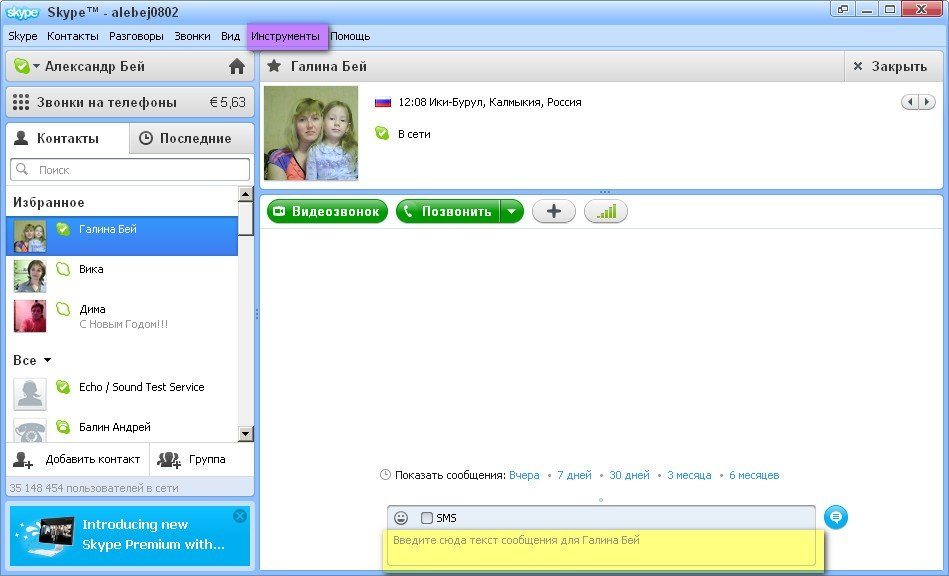 Общение в скайпе, звонок